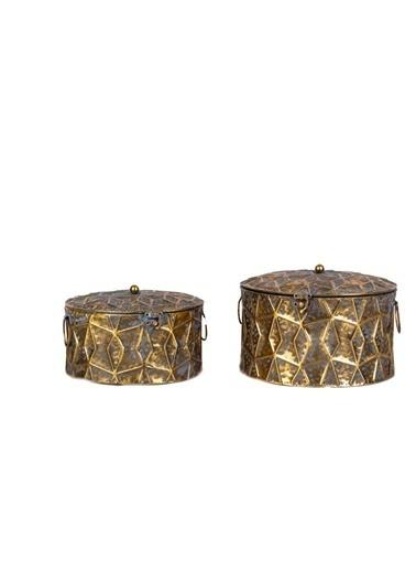 Acar Altın Eskitme 2'Li Dekoratif Kutu Altın